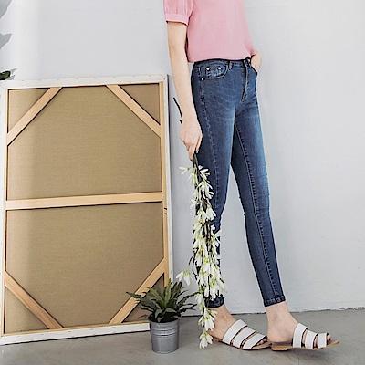 自然刷色彈力修身窄管牛仔褲-OB大尺碼