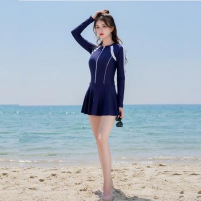 M-XL長袖拉鍊連身泳衣二件式比基尼泳衣(深藍)樂悅.Biki