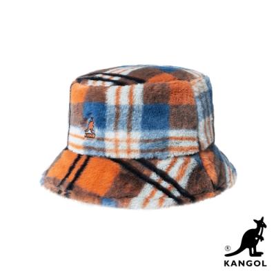 KANGOL-FAUX FUR 漁夫帽-橘格紋