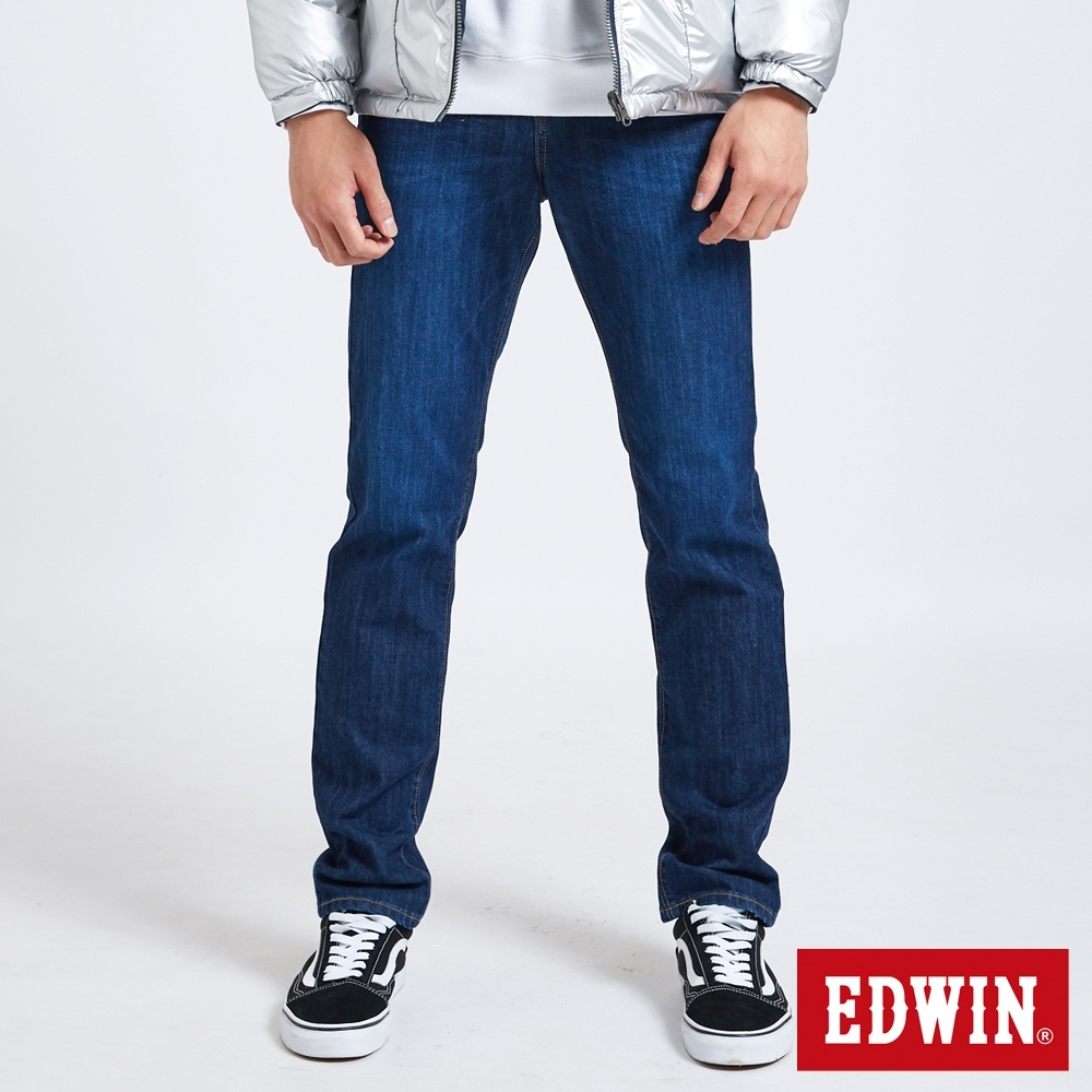 EDWIN EDGE LINE 修身超彈性 直筒牛仔褲-男-酵洗藍