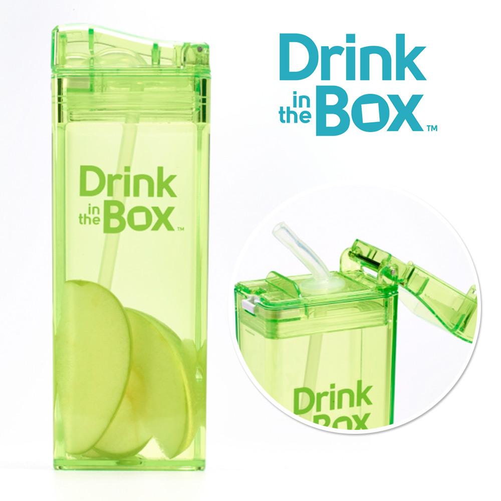 加拿大Drink in the box 兒童戶外方形吸管杯(大)-355ml-小草綠