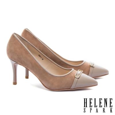 高跟鞋 HELENE SPARK 異材質拼接金屬鑽釦羊皮尖頭高跟鞋-杏