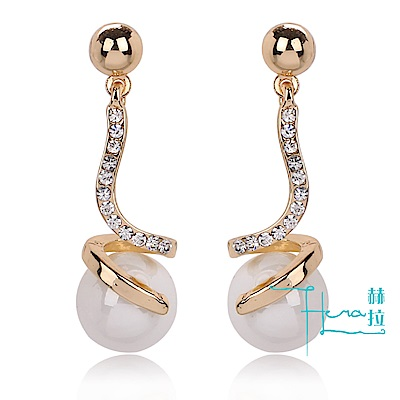 【Hera 赫拉】飾品鑲鑽 珍珠吊墜耳飾 珍珠耳環 明星同款