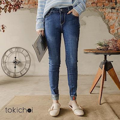 東京著衣 歐美潮流高含棉字母刺繡牛仔褲-S.M.L(共一色)