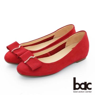 【bac】復古風潮 - 麂皮小方頭鑽飾平底鞋-紅