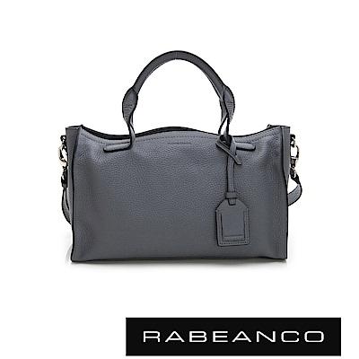 RABEANCO 真牛皮革手提粗肩背長方包 暗灰藍