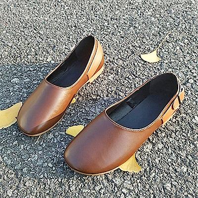 韓國KW美鞋館 賣瘋了歐美玩酷平底鞋-棕色