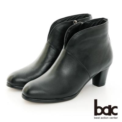 【bac】中性時尚復古小V口粗跟短靴-黑