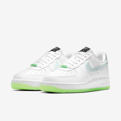 Nike 休閒鞋 Air Force 1 07 LX 女鞋 經典款 AF1 皮革 質感 夜光 穿搭 白 綠 CT3228100