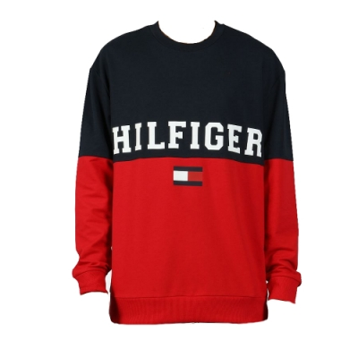 Tommy Hilfiger 男款拼色長袖T恤 (深藍拼紅色)