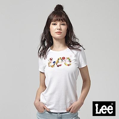 Lee 夏季元素LOGO短袖圓領TEE-白