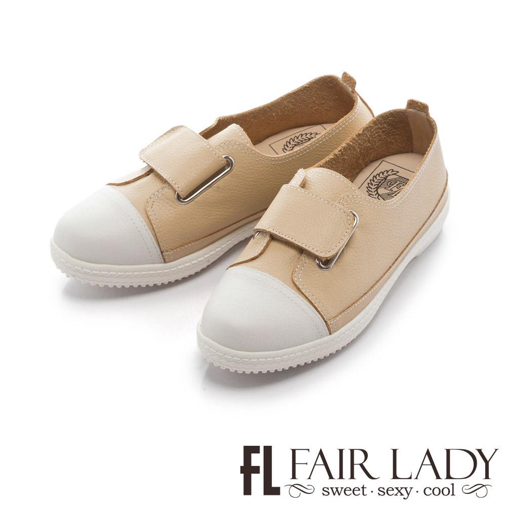 Fair Lady Soft Power軟實力時髦雅緻金屬扣飾皮質休閒鞋 黃