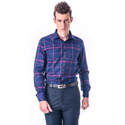 【金安德森】深藍底黃紅大線格保暖窄版長袖襯衫