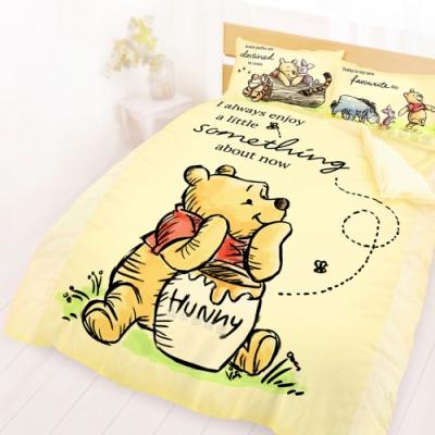 享夢城堡 雙人加大床包薄被套四件組-迪士尼小熊維尼Pooh 蜂蜜小事-米黃.藍
