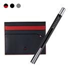 MONDAINE 瑞士國鐵國徽系列牛皮6卡卡片夾黑紅/黑/灰+多功能磁性筆