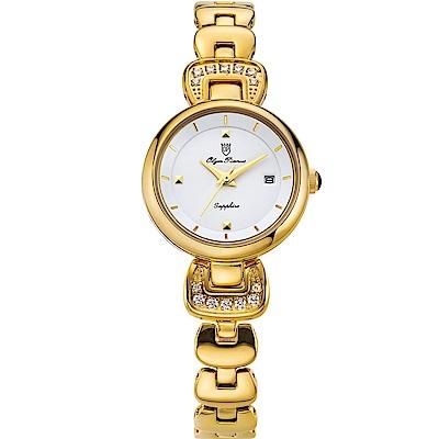 Olym Pianus 奧柏表 愛鍊傳說晶鑽時尚腕錶-金 2468LK