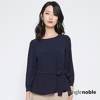 獨身貴族 低調優雅腰綁帶泡泡袖上衣(2色)