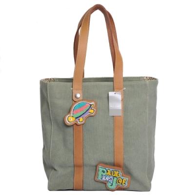 Paul & Joe 可愛品牌LOGO皮標手提肩背托特包(軍綠色)-展示品出清