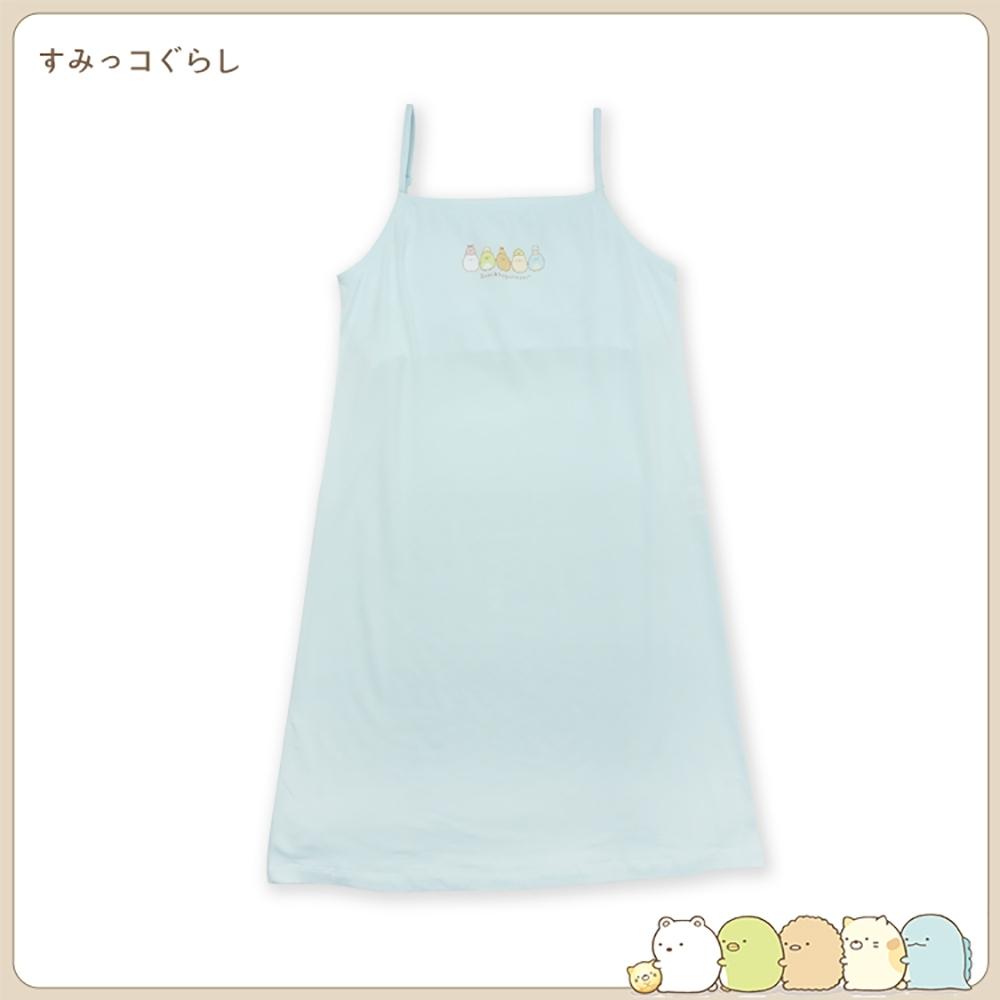 anny pepe 角落小夥伴少女竹纖維細肩帶連身裙(附內墊)-粉/藍 (藍)