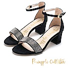 Pineapple Outfitter 注目焦點 復古水鑽一字粗跟涼鞋-絨黑