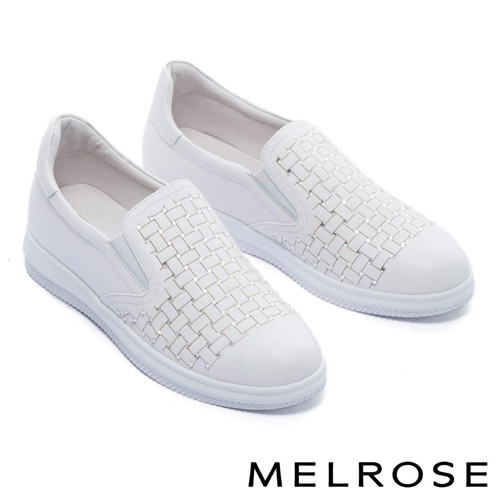休閒鞋 MELROSE 百搭激光編織感晶鑽全真皮厚底休閒鞋-白