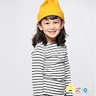 Azio Kids 女童 上衣 貓咪愛心印花坑條條紋上衣 (黑白)