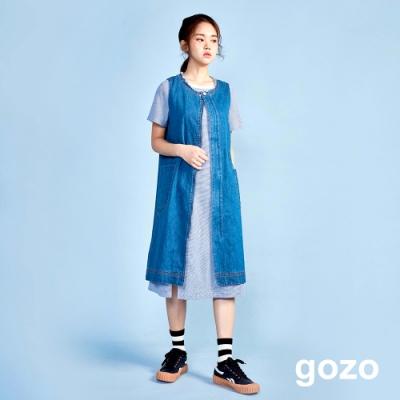 gozo 造型長版牛仔背心洋裝(淺藍)