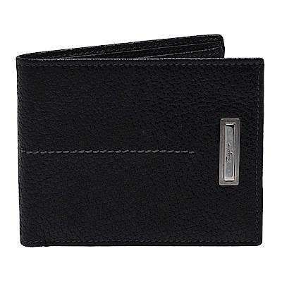 Salvatore Ferragamo 品牌金屬牌鑲嵌小牛皮對摺短夾(黑)
