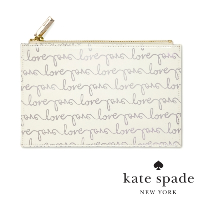 KATE SPADE 簡約手繪風萬用收納化妝包 Love Script
