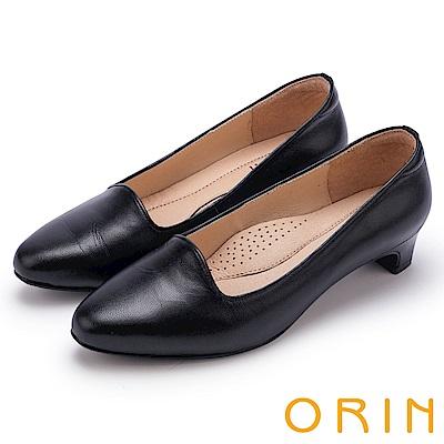 ORIN 簡約舒適柔軟 嚴選羊皮經典素面粗跟鞋-黑色
