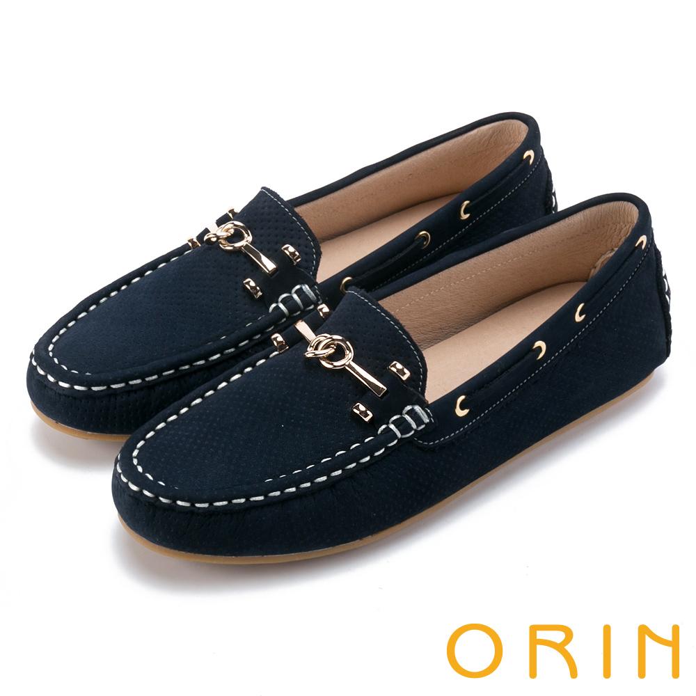 ORIN 牛皮金屬飾釦洞洞 女 平底鞋 絨藍