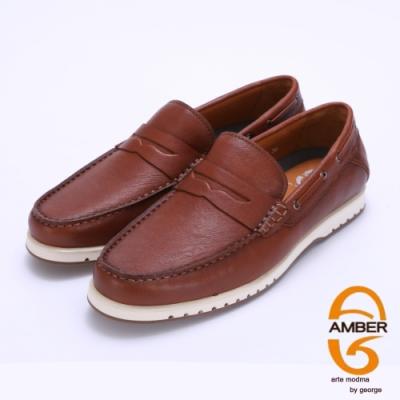 Amber 超輕耐磨柔軟真皮樂福休閒鞋-棕色