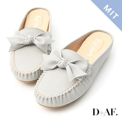 D+AF 甜美日常.MIT蝴蝶結豆豆穆勒鞋*灰