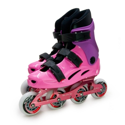 DLD多輪多 專業競速鋁合金底座直排輪 溜冰鞋 粉紫 M6 附贈太空背包