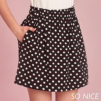SO NICE俏麗圓點印花羅馬布短裙