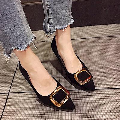 KEITH-WILL時尚鞋館 明星同款波濤花香細跟鞋-黑色