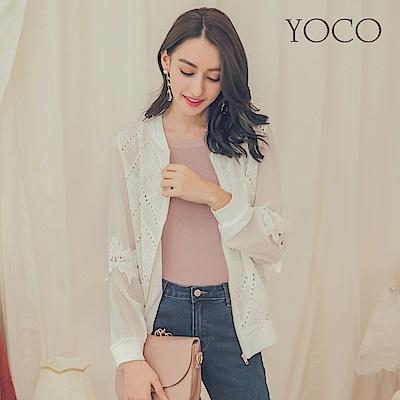 東京著衣-yoco 浪漫甜心女孩百搭蕾絲拼接雪紡外套-S.M.L(共一色)