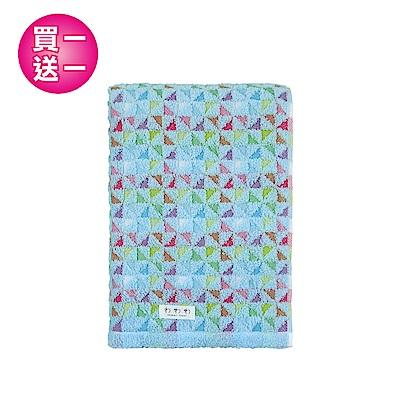 【買一送一】日本丸真 今治浴巾 繽紛三角-天空藍