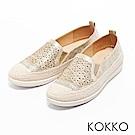 KOKKO - 輕奢幾何雕花麻繩平底休閒鞋- 土豪金
