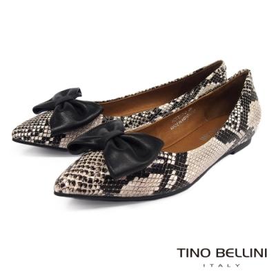 Tino Bellini 蛇紋大蝴蝶結內增高平底鞋 _蛇紋