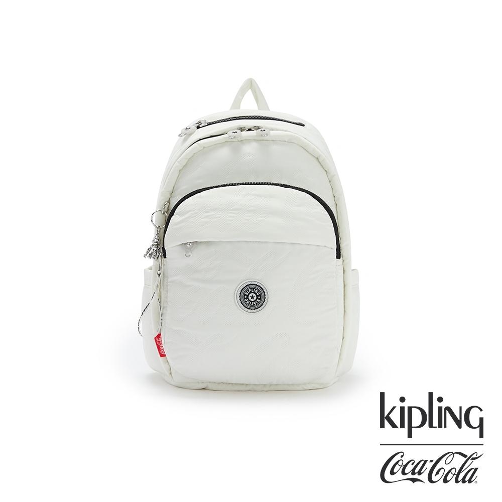 Kipling | Coca-Cola 聯名款空氣感岩石灰上方拉鍊後背包-DELIA