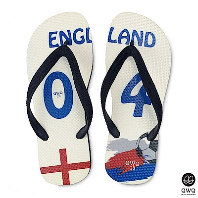 QWQ世界盃足球紀念鞋 英格蘭 細帶女款款天然橡膠人字拖