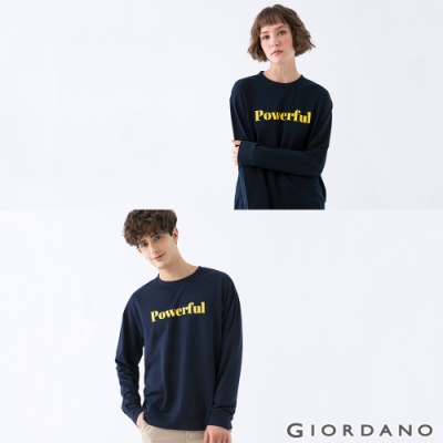 GIORDANO 中性款簡約文字大學T恤 - 04 藍
