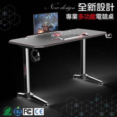 【CHAMPION】 Z1S新一代多功能超跑電競桌/職業遊戲桌(多項國際認證/滿版滑鼠墊+杯架)