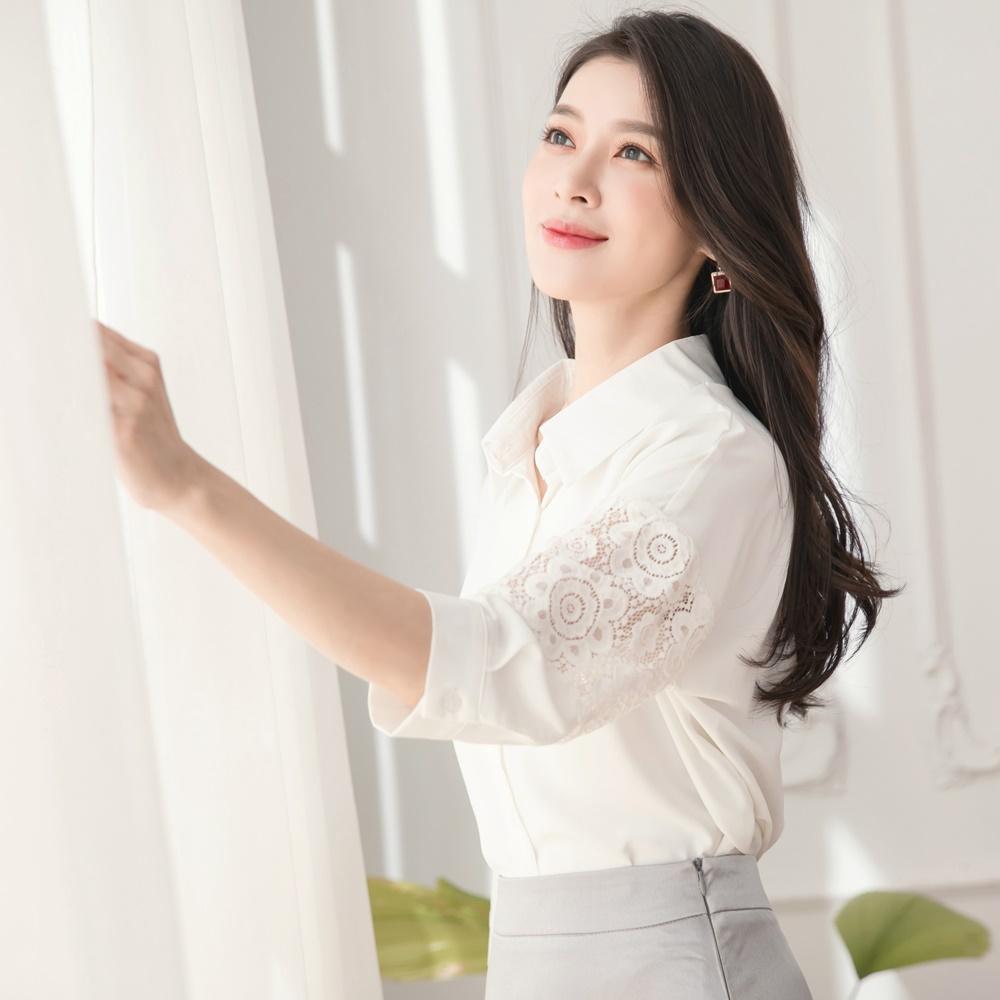 典雅雪紡鏤空蕾絲五分袖上衣-OB嚴選