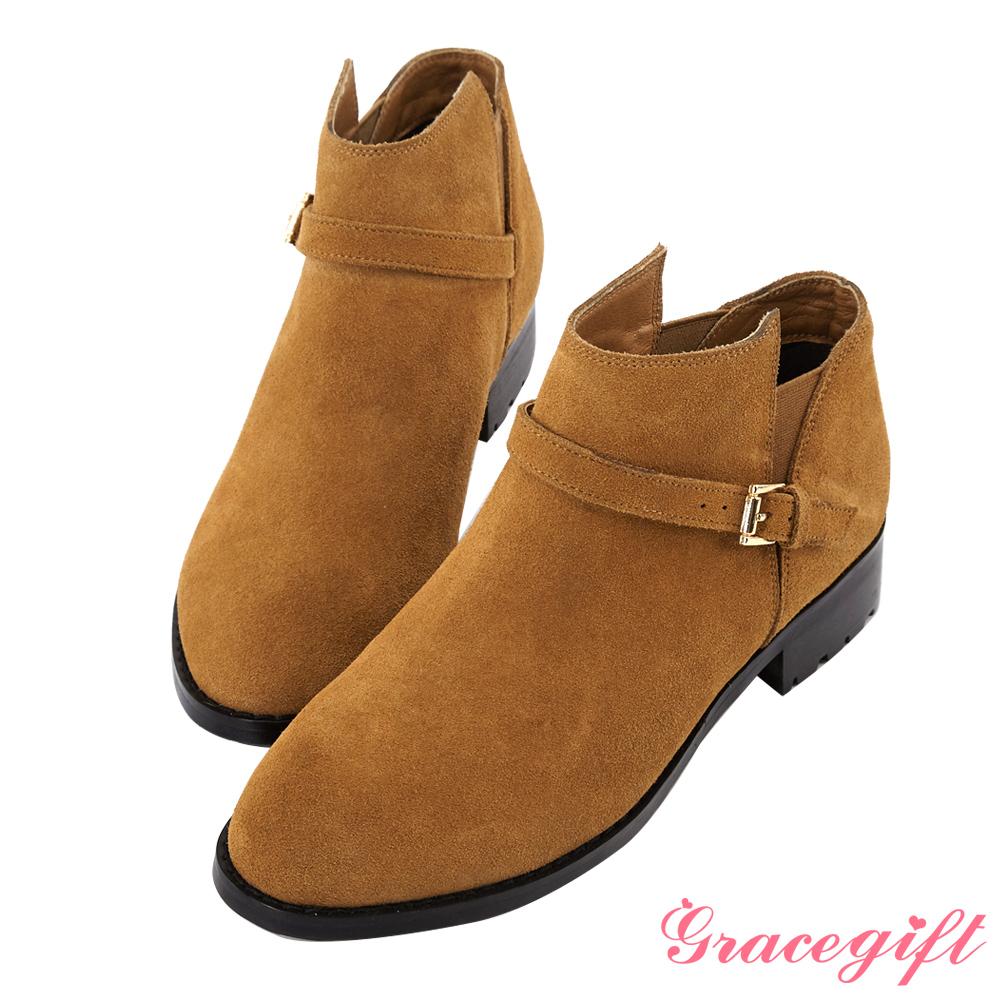 Grace gift-真麂皮側鬆緊帶釦及踝短靴 棕