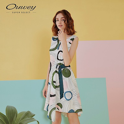 OUWEY歐薇 手繪風綁帶無袖雪紡洋裝(白)
