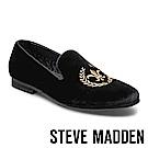 STEVE MADDEN-CRIMSON電繡絨面男士懶人鞋-絨黑