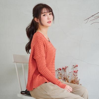 慢 生活 簡約百搭麻花紋針織上衣- 橘/綠