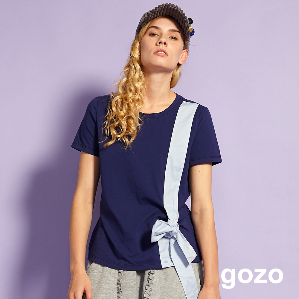 gozo Born To Gift配色禮物綁帶上衣(深藍)